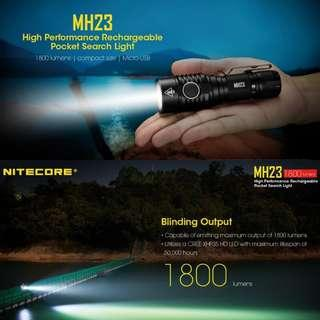 (In-stock) Nitecore MH23 1,800 Lumens USB Rechargeable LED Flashlight_Compact & Lightweight