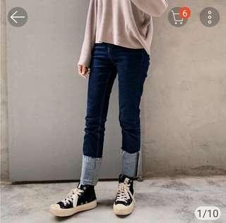 🚚 Hangten 原色直筒反摺牛仔褲