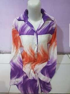 Kemeja blouse kantor motif