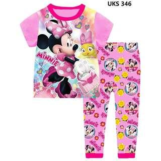 Minnie MOuse PInk Short Sleeve Pyjamas for 2 to 7 yrs old