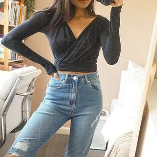 862ae9ebb14a3 Kookai Black Wrap Style Cotton Long Sleeve