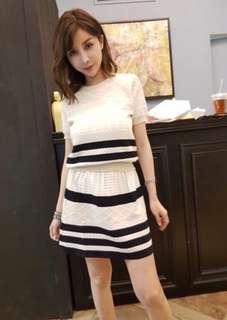 正韓North小香風針織套裝,短袖上衣+裙子
