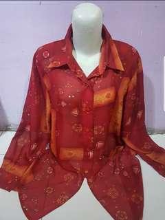 Kemeja blouse motif kantor