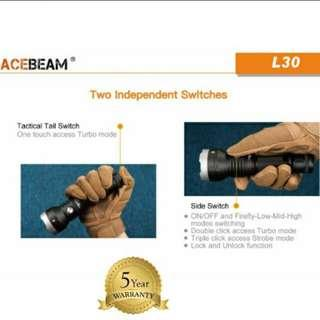 (4,000 Lumens_Free Delivery) Acebeam L30 Rechargeable Flashlight_370 Beam Distance