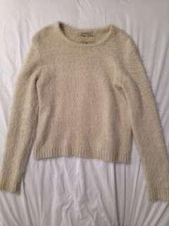 Cream Fuzzy Knitted Sweater