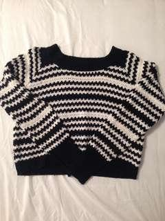 Black & White Striped Cropped Knitted Sweater