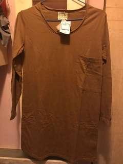 全新100%棉靚黃色韓國長衫可當裙著