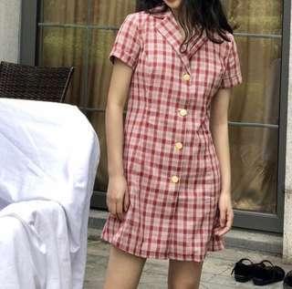 🚚 BNWT red retro plaid dress