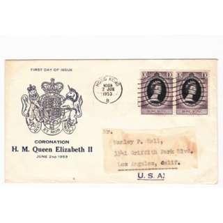 香港 1953年 女皇伊利沙伯二世加冕紀念郵票特別圖案首日封(藍色黴號圖案)