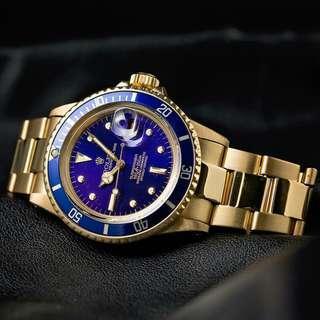 Rolex Subamariner Automatic full gold plat biru