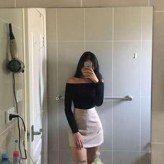 Beige a-line skirt