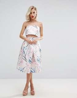 Horrockses Midi Satin Skirt in Floral