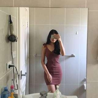 Maroon bodycon knit dress