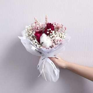 🚚  Fresh flower bouquet | Roses with baby's breath and cotton | Valentine's Day Flower | Birthday Gift | Anniversary Flower | Flower Delivery | 情人节花束|鲜花运送|满天星 |玫瑰 |棉花