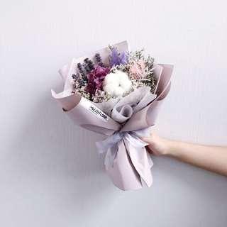 🚚 Dried flower bouquet | preserved hydrangea with cotton | Valentine's Day flower gift | birthday flower | Anniversary Gift | flower delivery | 干花花束 |情人节花束|鲜花运送|生日花束