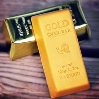 The saem 24k gold snail bar soap