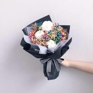 🚚 Dried flower bouquet | cotton with baby's breath bouquet | Valentine's Day flower gift | birthday flower | Anniversary Gift | flower delivery | 干花花束 |情人节花束|鲜花运送|生日花束