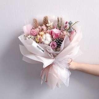 🚚 Preserved Flower Bouquet | Anniversary Gift | Birthday Flower | Valentine's Day Gift | Pink roses  情人节花束 | 永生花花束 |鲜花运送