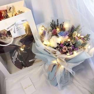 🚚 Preserved Flower Bouquet | Purple Blue Preserved Roses | Anniversary Gift | Birthday Flower | Flower Delivery |Valentine Flower Bouquet | 永生花 | 情人节花束 |生日花 |鲜花运送