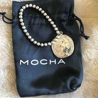 VON TRESKOW MOCHA STRETCHY SILVER BRACELET WITH AUTHENTIC 3 PENCE COIN