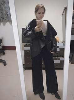 🚚 正韓絨布寬褲+橫條短版背心
