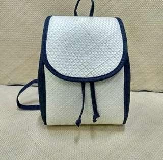 Ransel rajut pandan mix denim