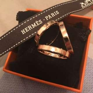 Brand New Hermes Rose gold scarf ring Trio
