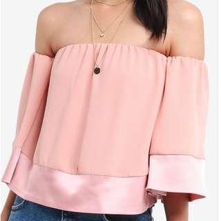 Something Borrowed Pink Satin Off Shoulder Top