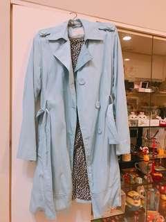 知名品牌ZARA亮藍色豹紋長版大衣🧥