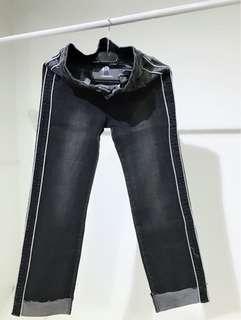 復古刷白假反折牛仔褲29