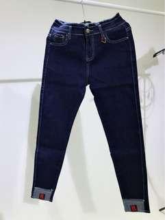 深藍色反折宅管褲