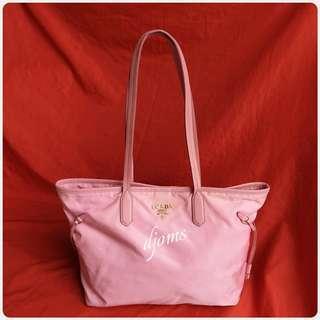🛑Prada Mm Pink Tessuto Saffiano Tote Shopper Bag