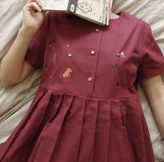 紅色小孤狸連身裙