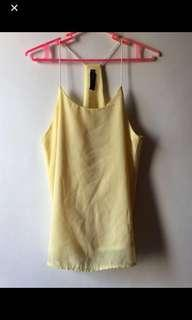 Yellow Chiffon / Gray Velvet Top (2 pcs)