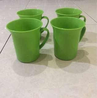 gelas plastik hijau gagang 400 ml take all murah