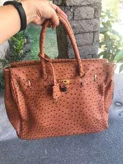 Faux Ostrich Skin Birkin Inspired Handbag