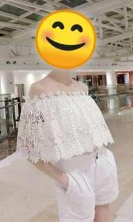 BN Off Shoulder Lace Chiffon White Top