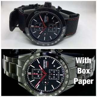RARE Seiko Brightz Ananta Full set Automatic Chronograph Limited Edition All Black SSD001