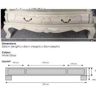 French shabby chic tv console rack