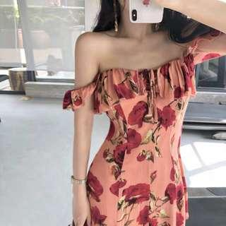 🚚 Floral Off Shoulder Dress
