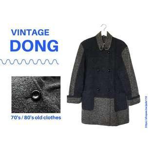 🚚 | 咚 咚 Vintage |日本古著-穆黑岩灰長袖毛料厚外套