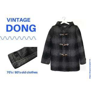 🚚 | 咚 咚 Vintage |日本古著-山蝕黑灰牛角長袖毛料厚外套