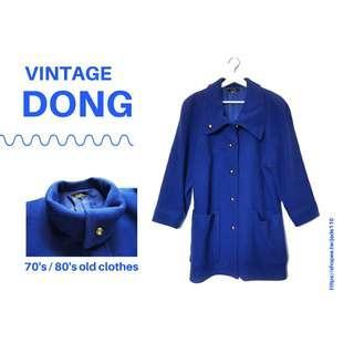 🚚 | 咚 咚 Vintage |法式古著-天青石藍女伶長版大衣毛呢厚外套