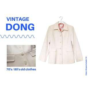 🚚 | 咚 咚 Vintage |日本古著-塞尚白貝松長袖毛料厚外套