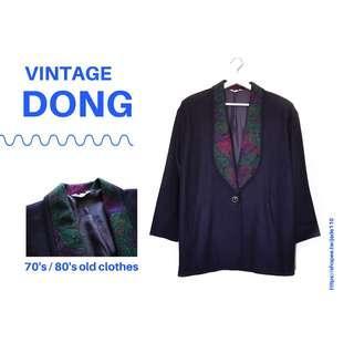 🚚 | 咚 咚 Vintage |日本古著-曼陀伶紫長袖毛料厚外套