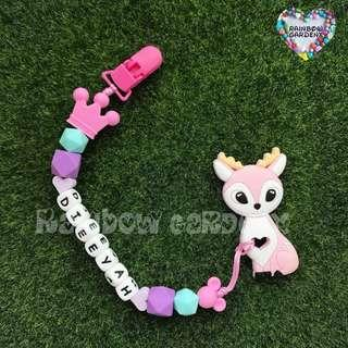 Customised Pacifier Clip with name silicone letter beads + Pink deer Teether