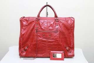 AUTHENTIC BALENCIAGA SPRING-SUMMER 2008 ROUGE VERMILLION / CORAL RED REGULAR HARDWARE WEEKENDER TRAVEL XL BAG - RARE