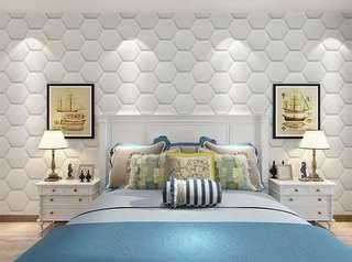 創意六角形3D立體牆貼  防水泡沫牆紙 壁紙 臥室 牆裙背景牆