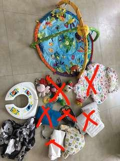 Bundle of Babytoys, baby gym, nursing cover, toilet seat..