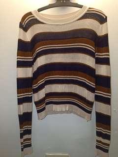 條紋針織短版上衣